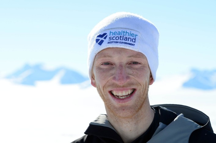 Dr. Andrew Murray running in the Antarctic, Union Glacier. Nov. 2012.