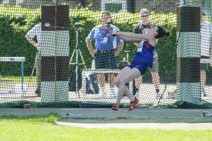 Kimberley Reed throwing the hammer at Loughborough