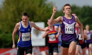 Jake Wightman wins the 800m at BUCS in Bedford in May 2014