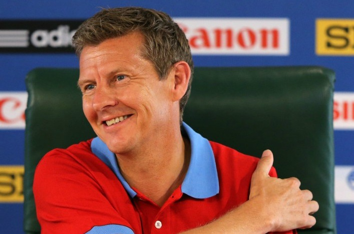 Steve Cram at press conference in Moscow