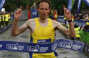 Ross Houston winning Edinburgh Half Marathon 2014