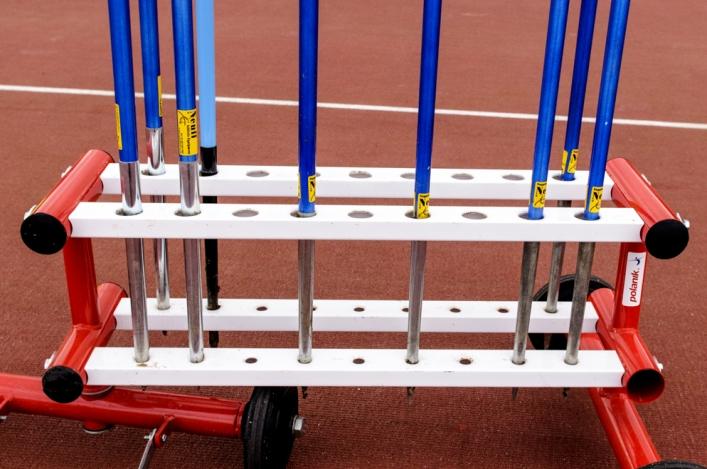 Javelins stored on a rack