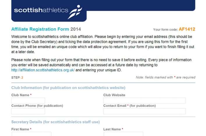 Screenshot of club affiliation form