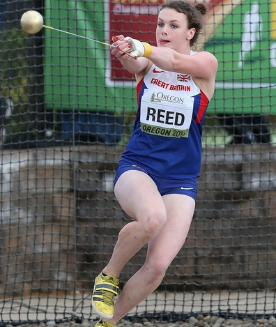 Hammer thrower Kimberley Reed of Edinburgh Ac in action at World Juniors in America