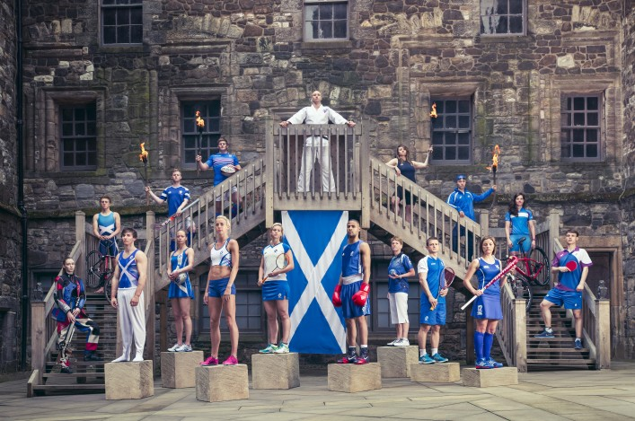 Athletes from 17 sports in Games kit line up at Stirling Castle