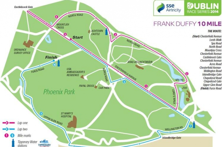 Map of course for Frank Duffy 10-Mile race in Dublin, Ireland