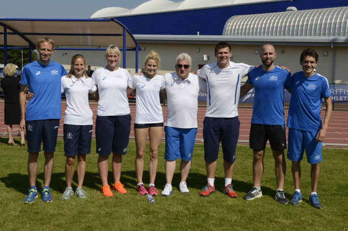 Team Scotland athletes and Stephen Maguire line up at Ayrshire Athletics Arena at Kilmarnock