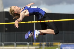 High jump action in Aberdeen in August 2014