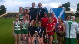 Scotland's 4 x 400m U18 women celebrate a Celtic Games record