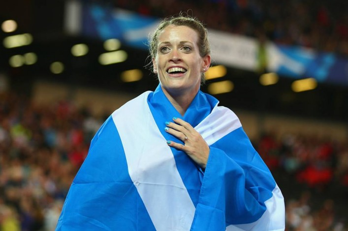 Eilidh Child with Saltire flag at Hampden