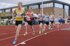 Glasgow Miler Meet athletes on the trsack at Hutchesons' Grammar