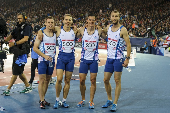 Scotland's 4 x 400m relay sqaud at Hampden