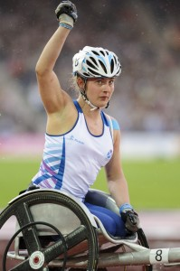 Meggan Dawson-Farrell in action in the wheelchair 1500m at Glasgow 2014