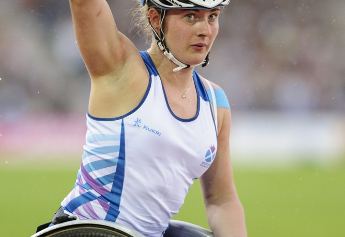 Meggan Dawson-Farrell in action in the wheelchair 1500m at Glasgow 2014
