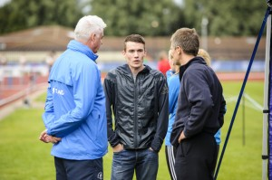Rodger Harkins and Nigel Holl chat with Chris O'Hare in Aberdeen