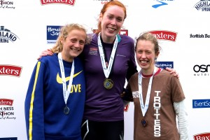Shona McIntosh (right) won Grand Prix from Jen Emsley (centre) and Megan Crawford (left)