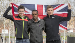 26/04/16.. EMIRATES ARENA - GLASGOW Picked for the GB team scottish runner Callum Hawkins (black top) with brother Derek Hawkins and Tsegai Tewelde from Eritrea refugee in glasgow