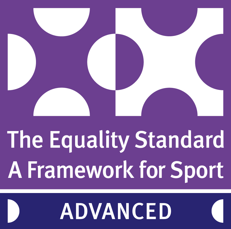 The Advance Equality Standard logo, purple and white
