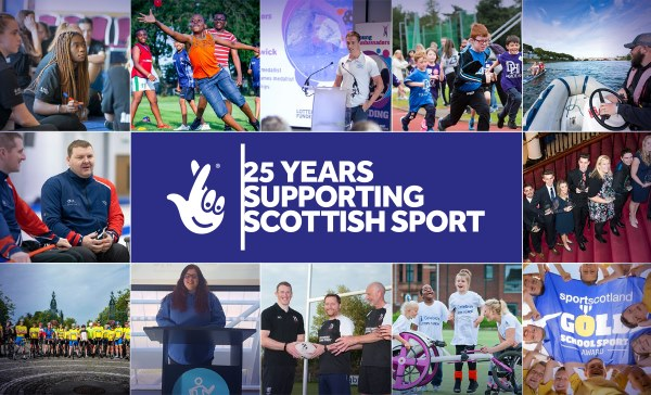 A montage of images from different sports. In the centre is the National Lottery Logo and the words 25 years supporting Scottish sport